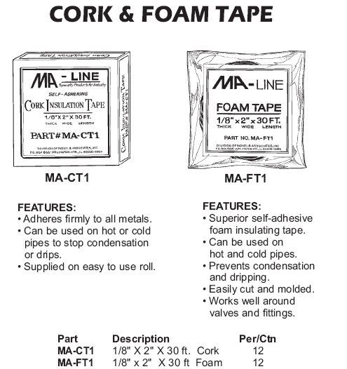 cork and foam tape
