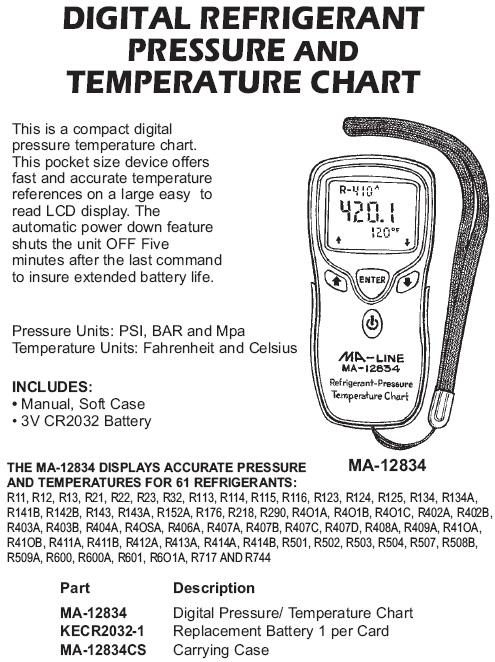 Digital Refrigerant Pressure And Temperature Chart Ma Line