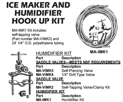 ice maker and humidifier hook up kit