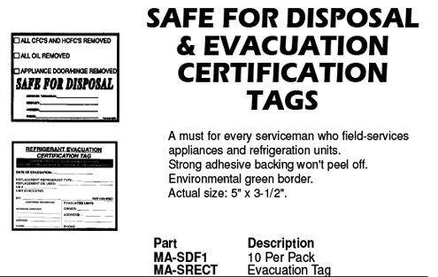 safe for disposal tags