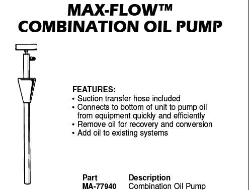 max-flow combination oil pump
