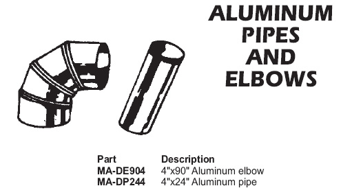 Aluminum pipes and elbows