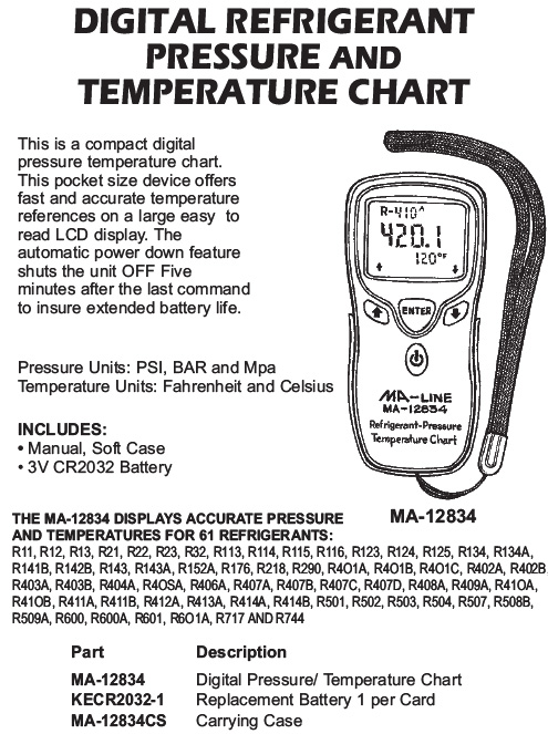 refrigerant pressure and temperature chart
