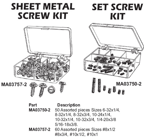 sheet metal screw kit, set screw kit