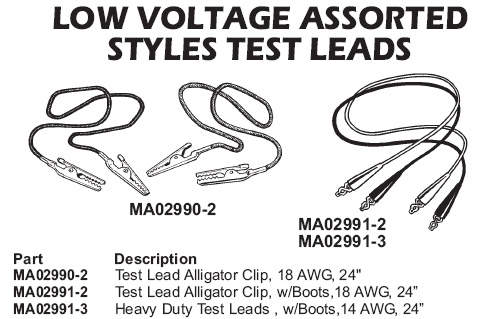 low voltage assorted test leads